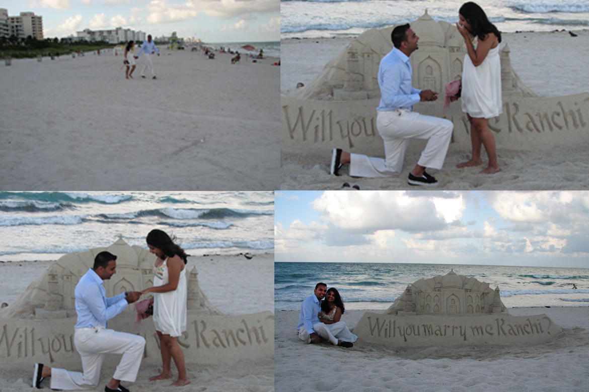 marriage proposal on the beach, sand sculpture proposals, sand castle proposals, FL USA