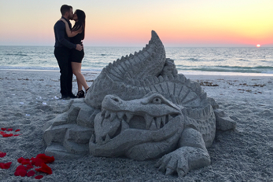 propose on the beach with a sand sculpture, beach proposals Florida