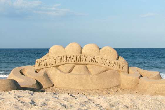 Will you marry me sand sculptures, beach proposals Florida USA