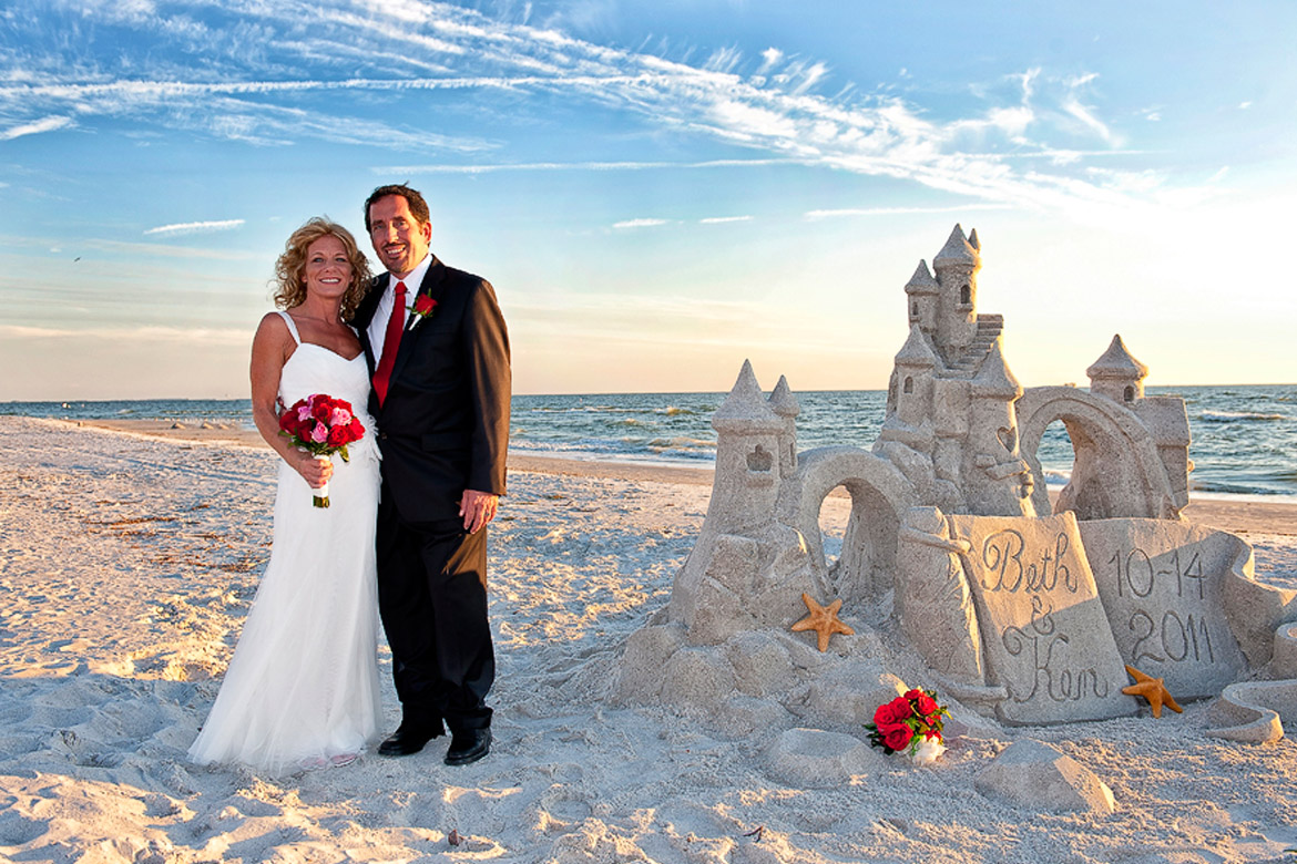 sand castle sculptures for beach weddings in Florida