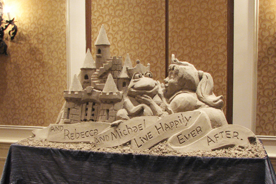 table top sand sculpture of castle for wedding or reception Florida