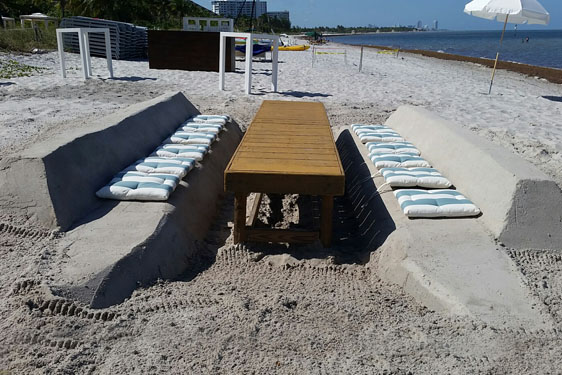 Wooden Table and sand bench