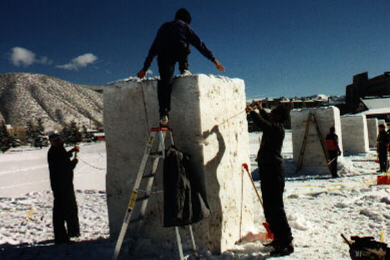 Block of snow to be carved
