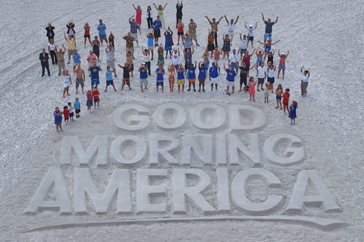 Good Morning America Outdoor Ad Raked Sand Sculpture on the beach, aerial ad