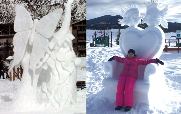 Butterfly snow sculpture