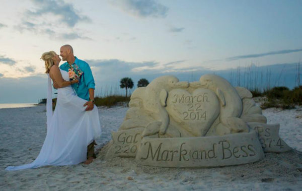 Sand sculptures Florida beach weddings