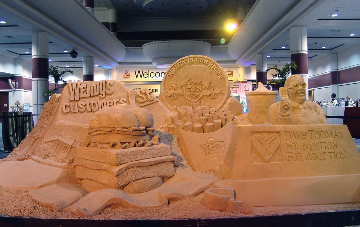 Wendys & Dave Thomas Foundation Promo Fast food Sand Sculpture