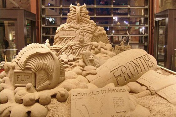 Nonstop to mexico, plane sand sculpture